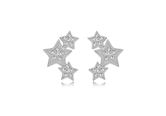 Silver Triple Star Crystal Stud