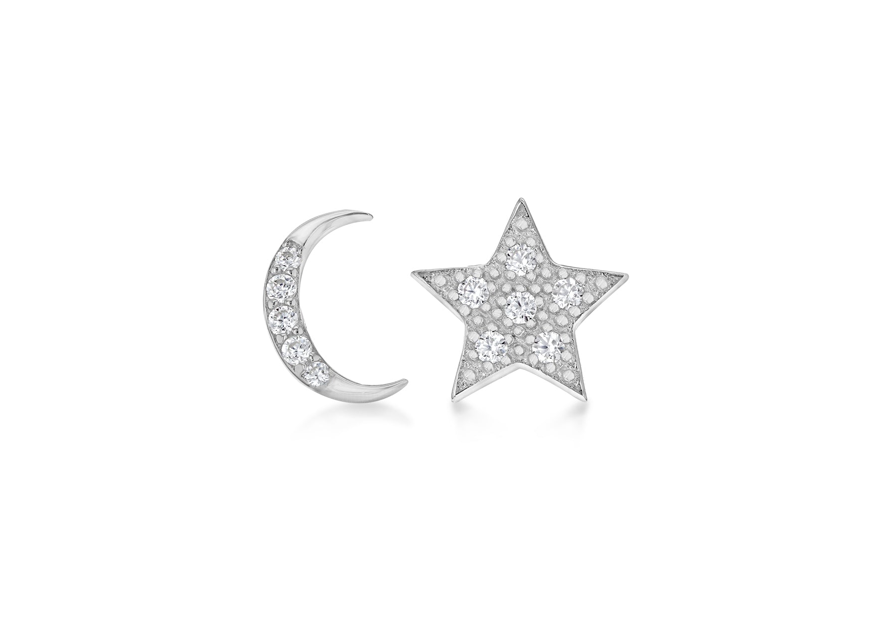 Star and Moon Silver Stud Crystal Earrings