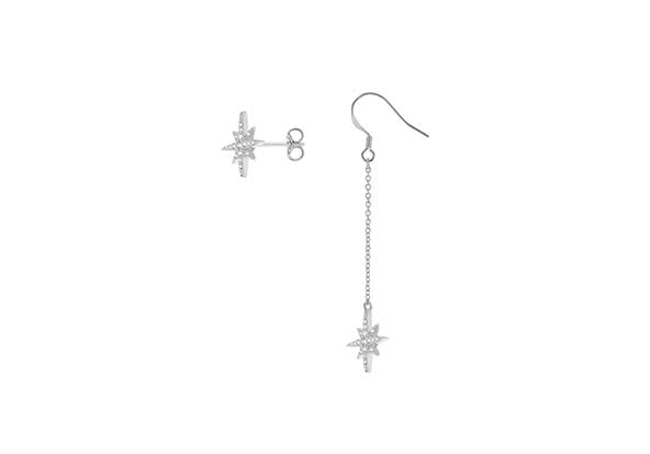 Silver Star Crystal Drop Chain and Stud Earring