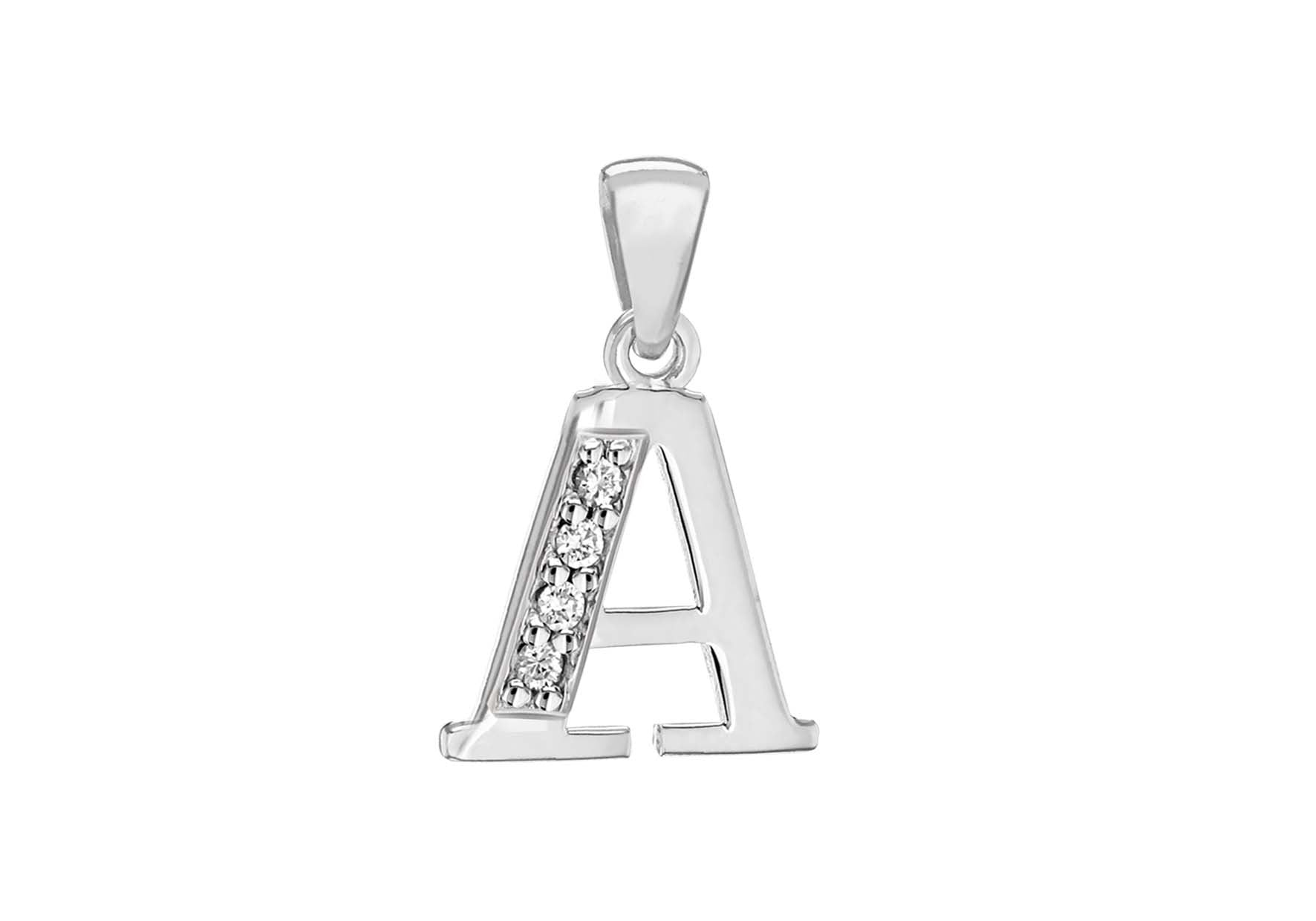 Sterling Silver Crystal 'A' Pendant Charm
