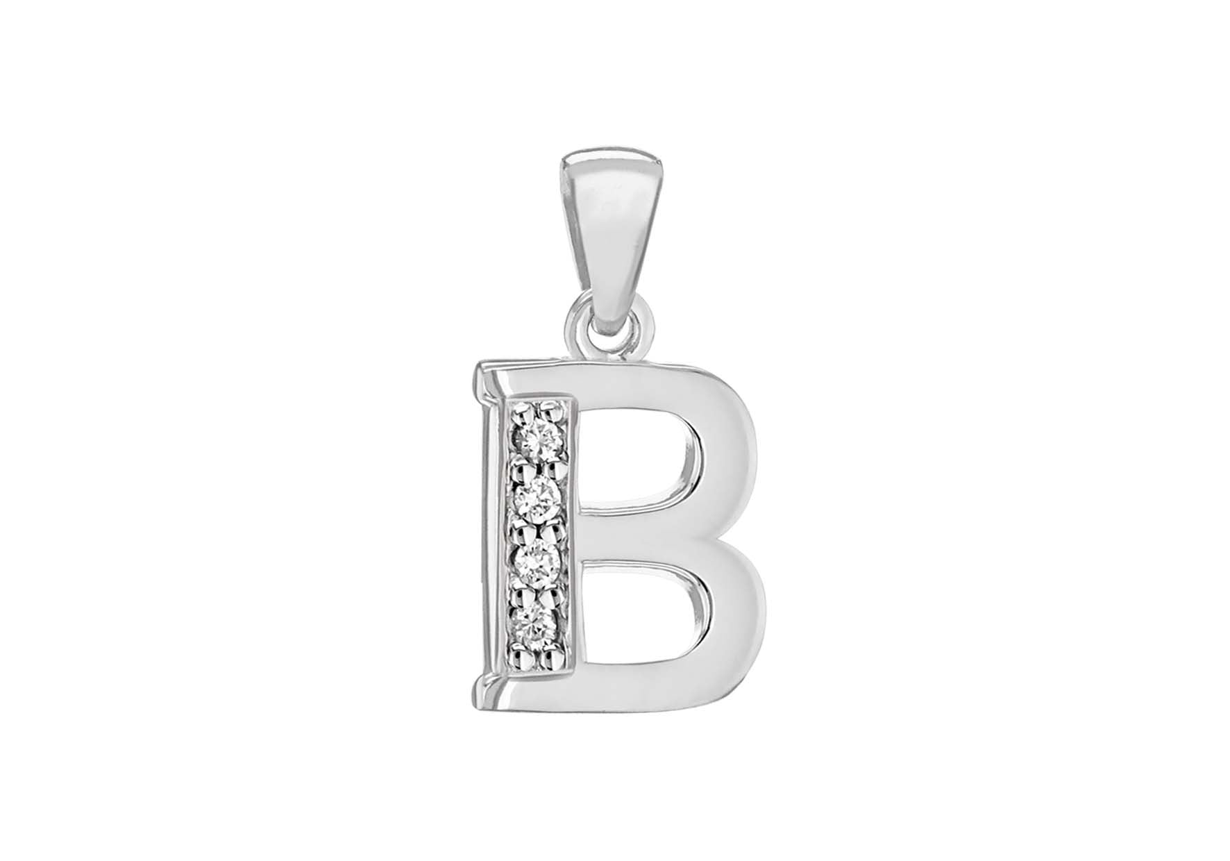 Sterling Silver Crystal 'B' Pendant Charm