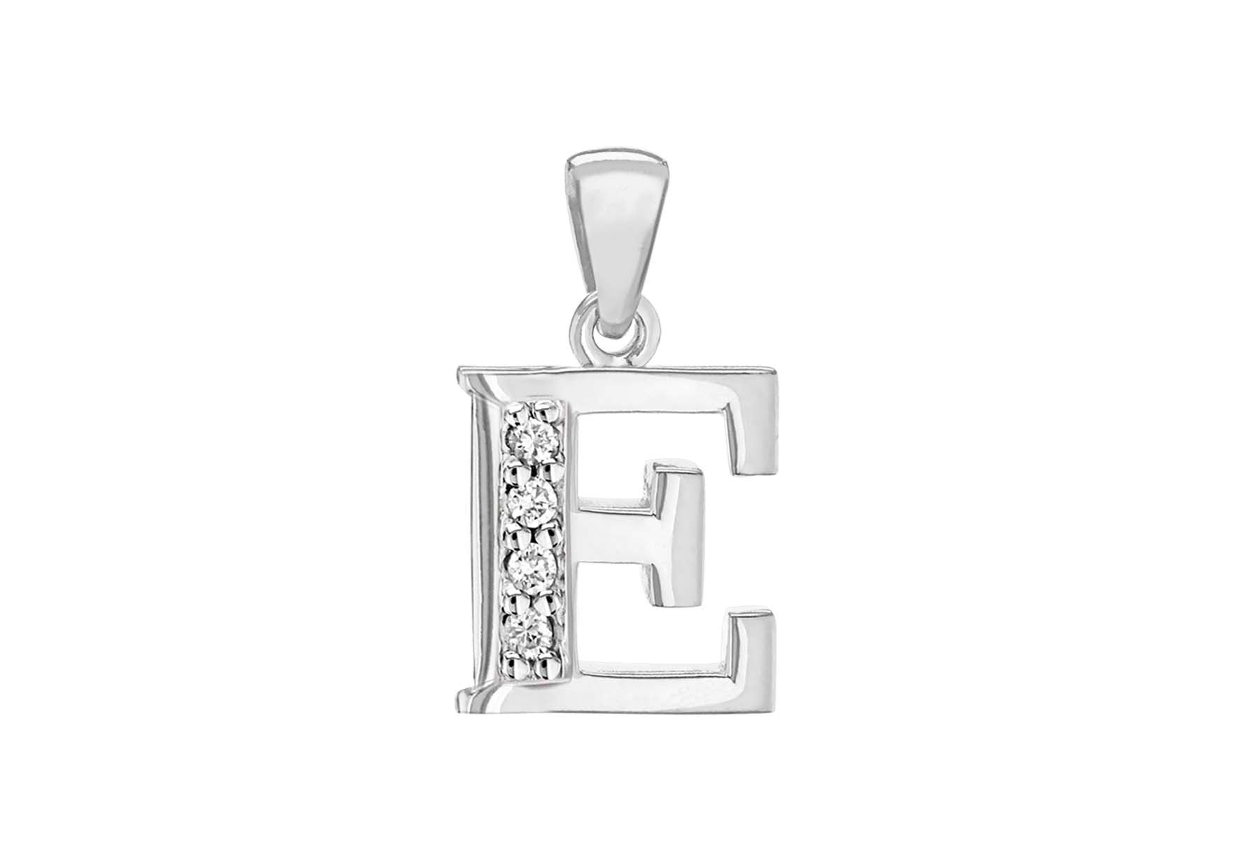 Sterling Silver Crystal 'E' Pendant Charm