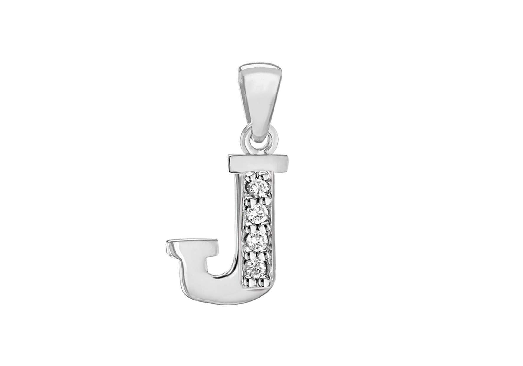 Sterling Silver Crystal 'J' Pendant Charm