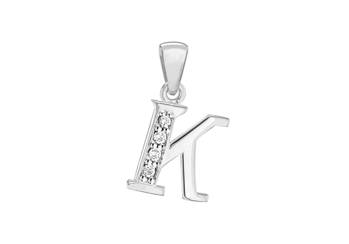 Sterling Silver Crystal 'K' Pendant Charm