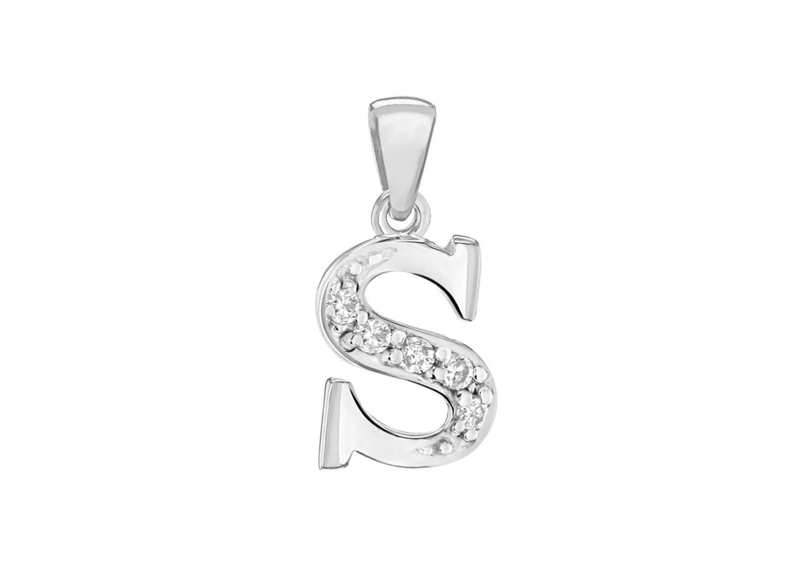 Sterling Silver Crystal 'S' Pendant Charm