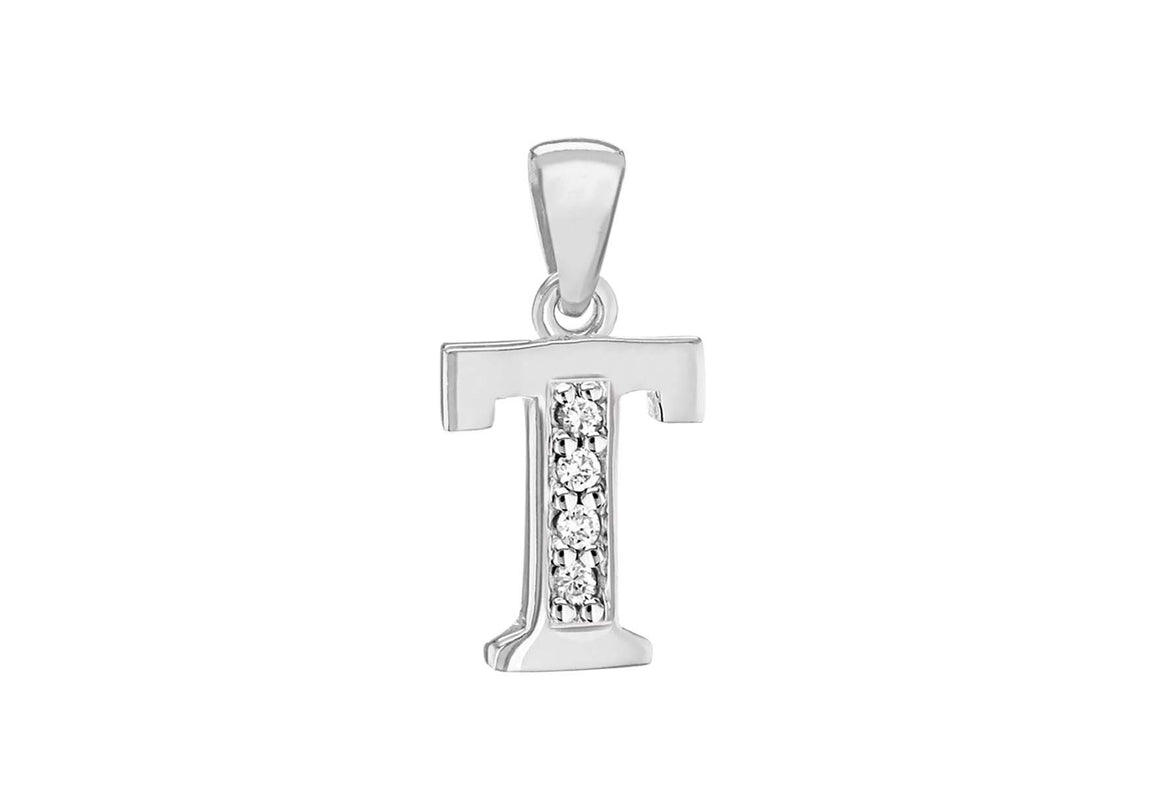 Sterling Silver Crystal 'T' Pendant Charm