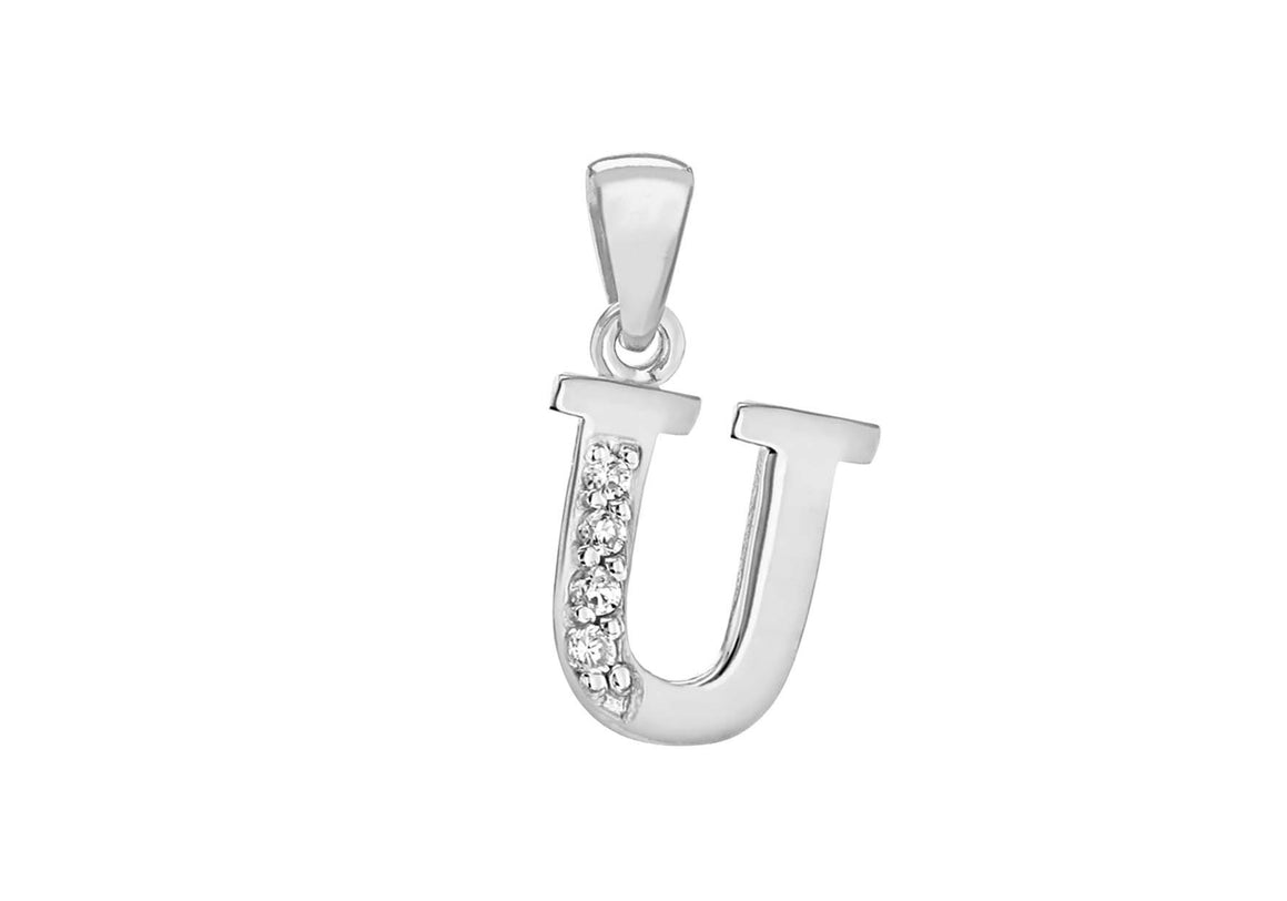 Sterling Silver Crystal 'U' Pendant Charm