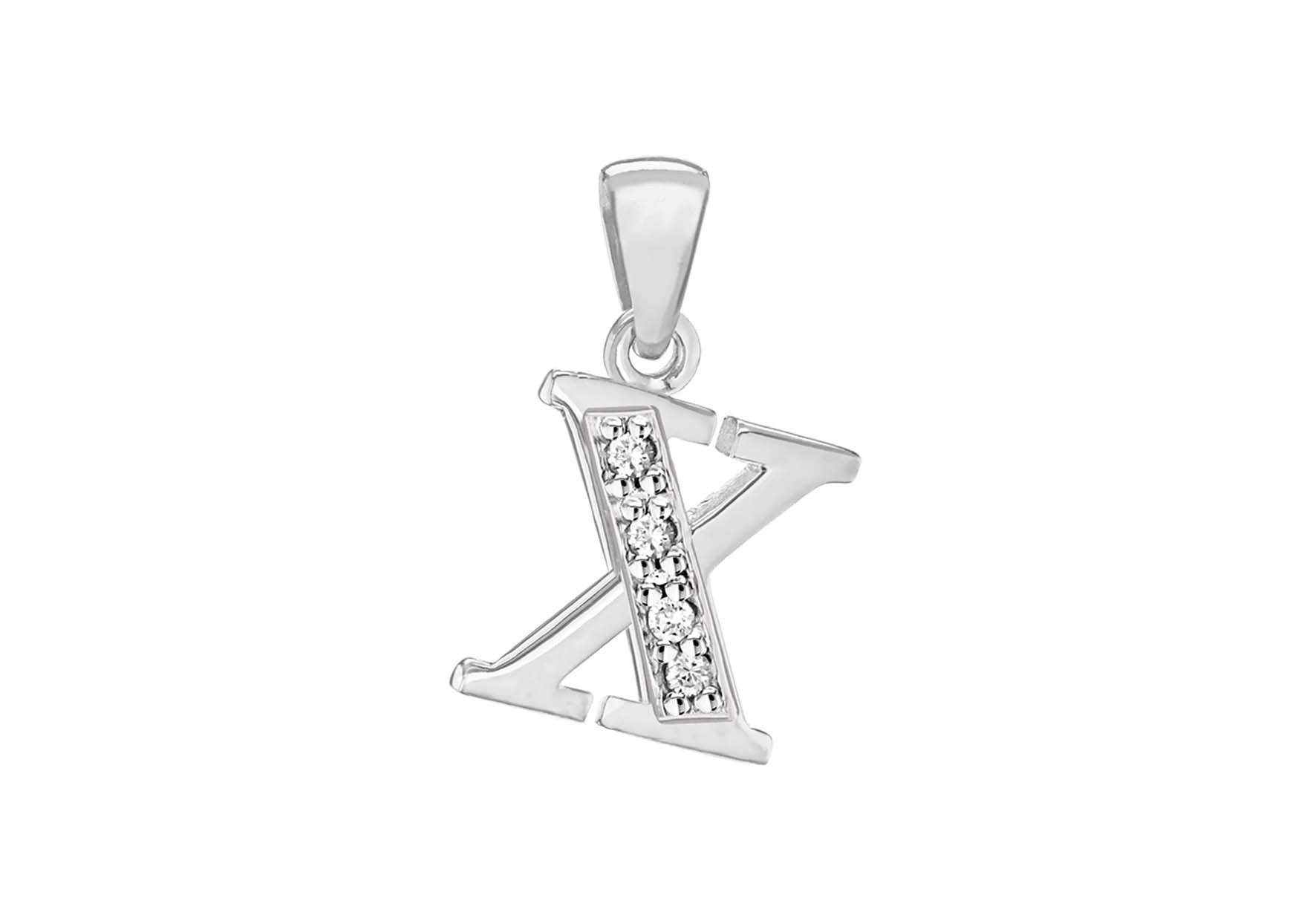 Sterling Silver Crystal 'X' Pendant Charm