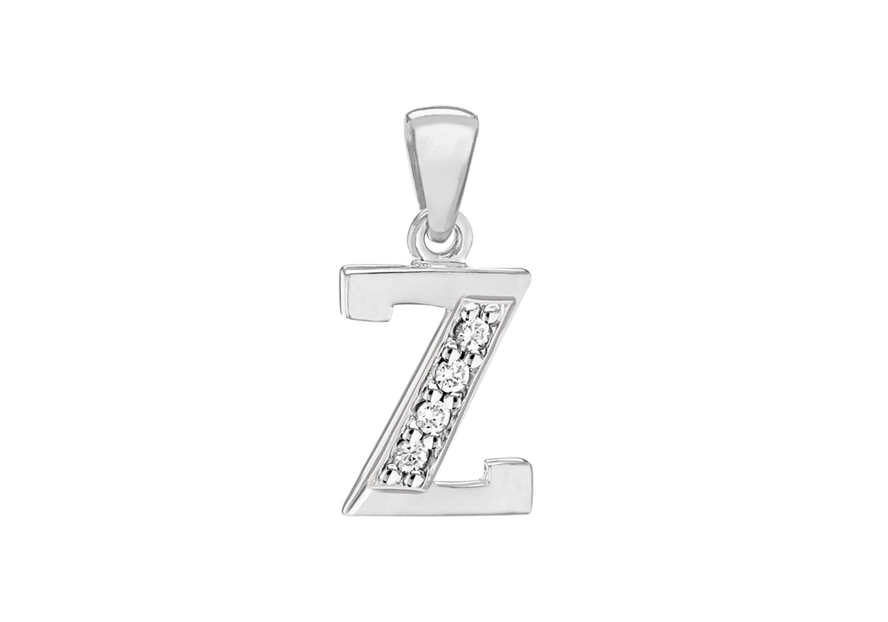 Sterling Silver Crystal 'Z' Pendant Charm
