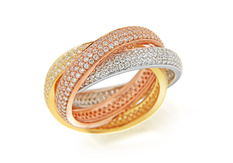 Three Colour Cubic Zirconia Russian Wedding Ring