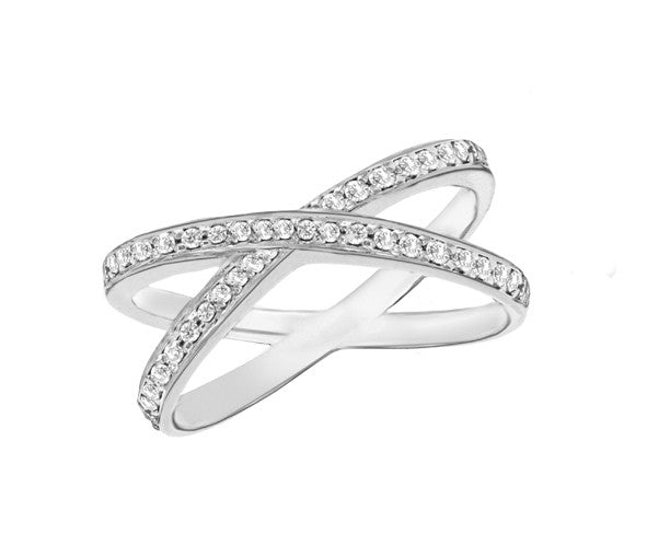 Sterling Silver Cross Over Pave Set Crystal Ring
