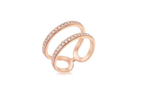 Rose Gold Plate Double Row Crystal Ring