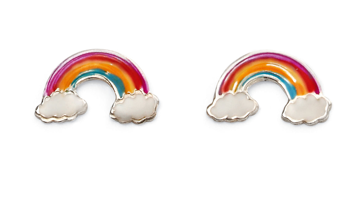 Rainbow and Cloud Enamel Silver Studs