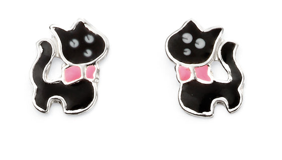Black and Pink Enamel Cat Stud Earrings