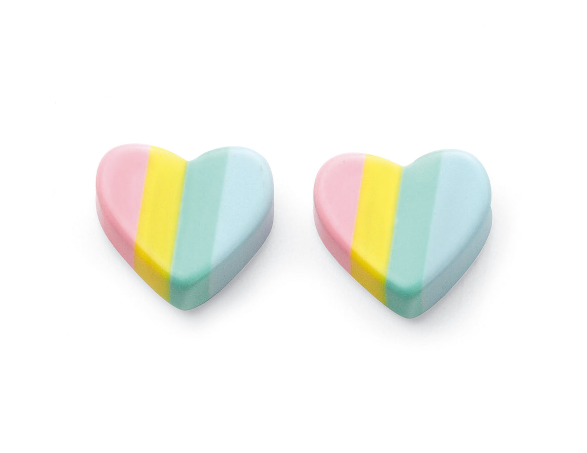 Rainbow Coloured Heart Stud Earrings