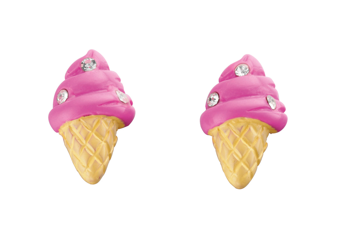 Pink Ice Cream Silver Studs