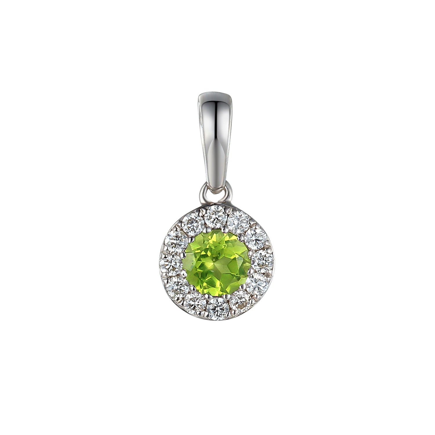 August Birthstone Peridot and Diamond Cluster Pendant 9ct Gold