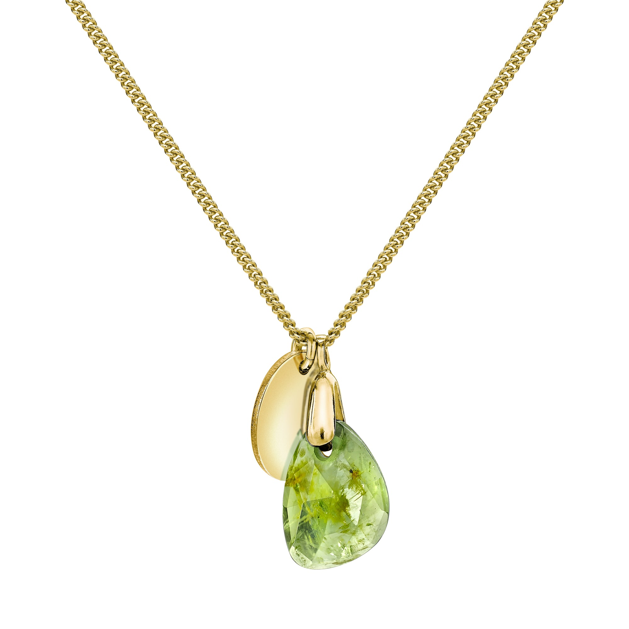 Aura Peridot Rose Cut Gold Plate Necklace