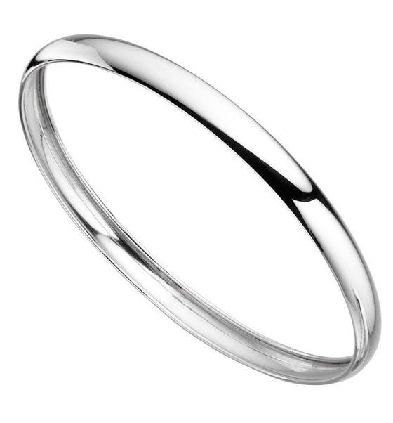 Sterling Silver Hollow Curved Bangle
