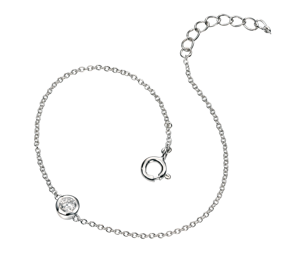 Single Crystal Sterling Silver Bracelet