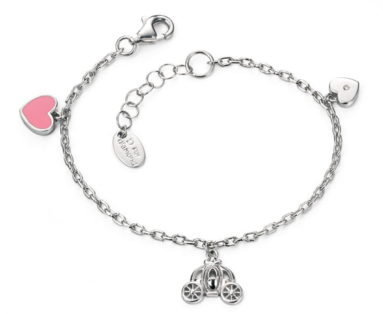 D for Diamond Sterling Silver Hanging Princess Charm Bracelet