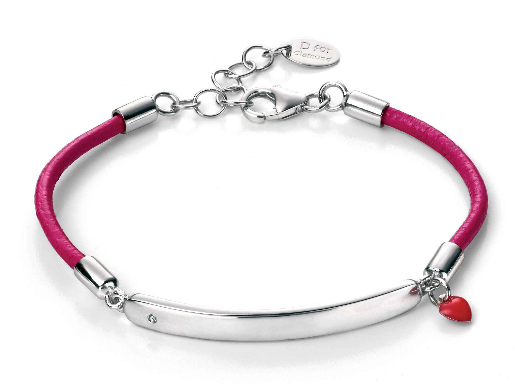 cafffa11f8495 Buy D for Diamond Pink Leather Girls Bracelet with ID Bar at Tzefira for  only £65.00