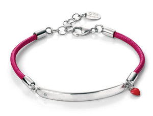 D for Diamond Pink Leather Girls Bracelet with ID Bar