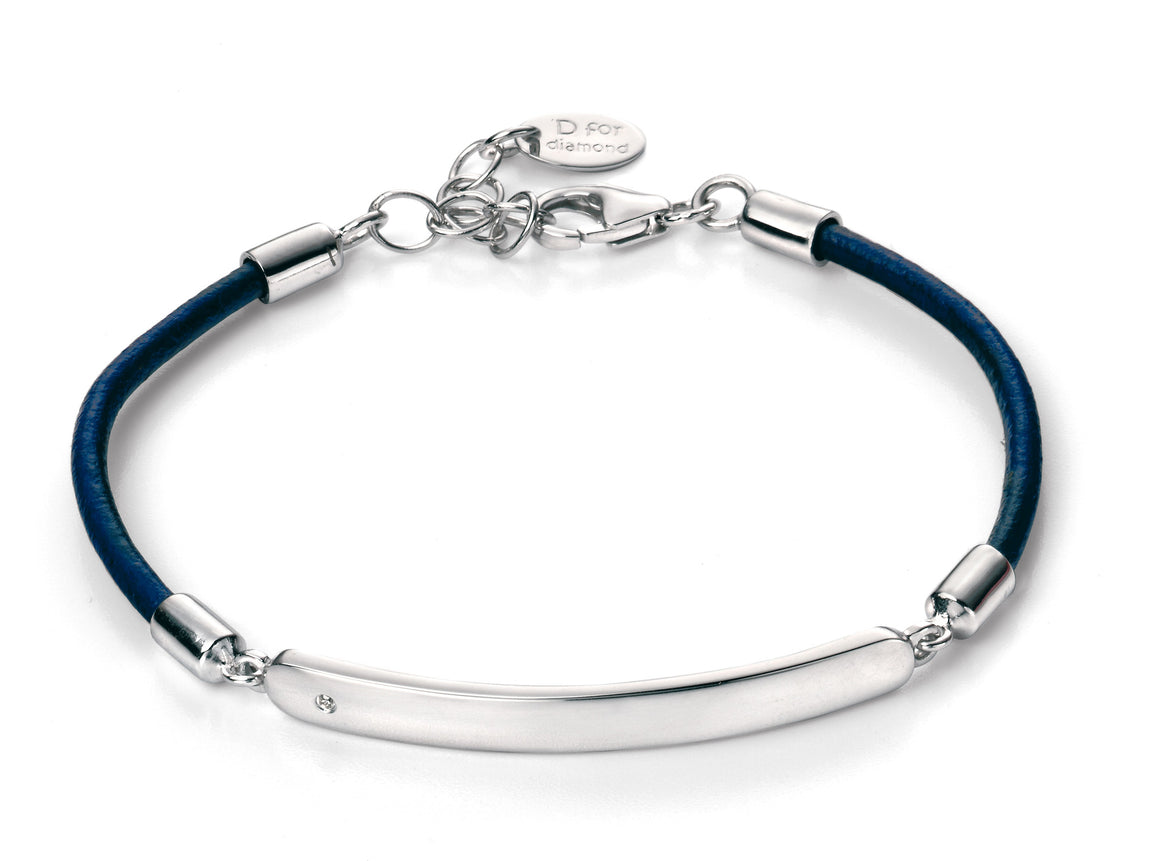 D for Diamond Blue Leather Boys Bracelet with ID Bar