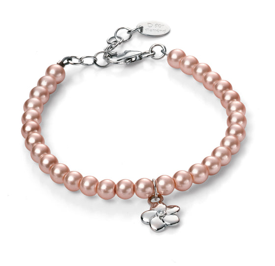 D for Diamond Pink Pearl Hanging Flower Bracelet