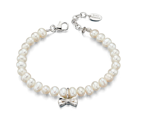 D for Diamond White Freshwater Pearl Bracelet