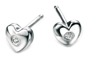 D for Diamond Sterling Silver Diamond Heart Earrings