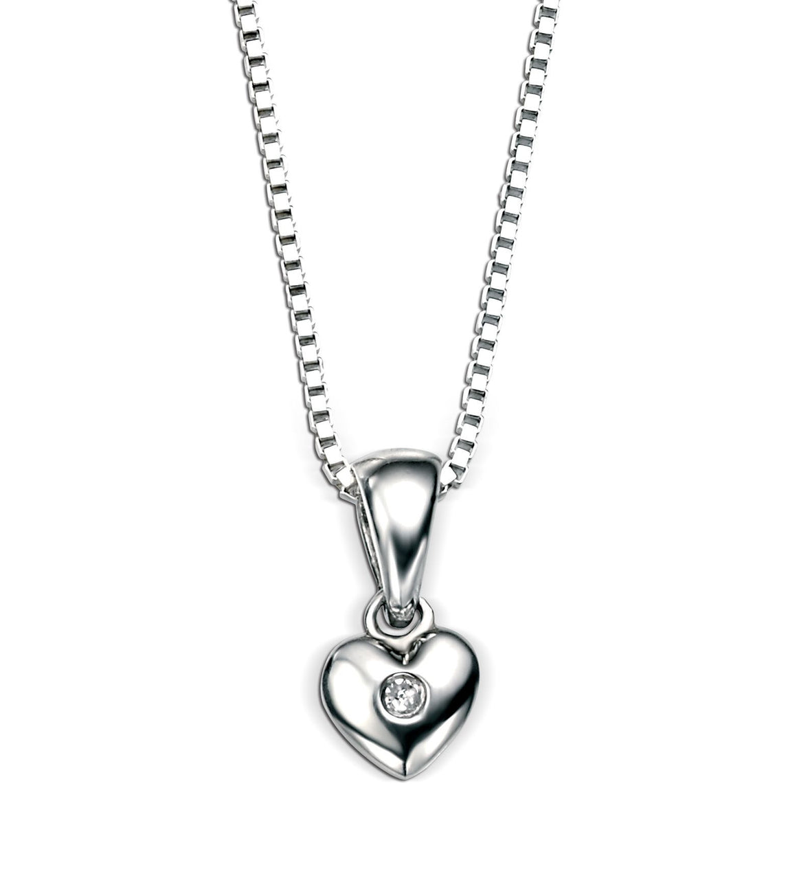 D for Diamond Small Heart Silver Pendant