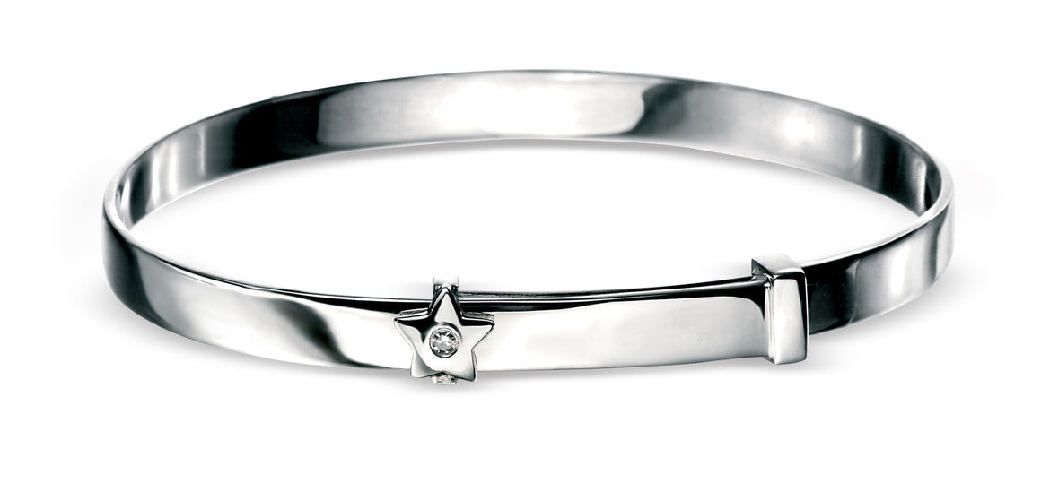 D for Diamond Silver Star Solid Bangle
