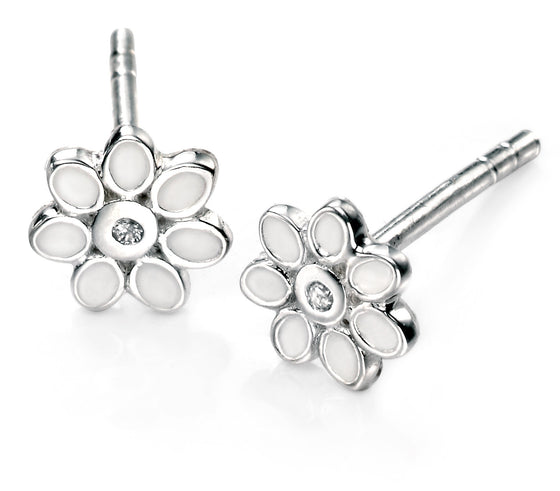D for Diamond White Enamel Flower Earring