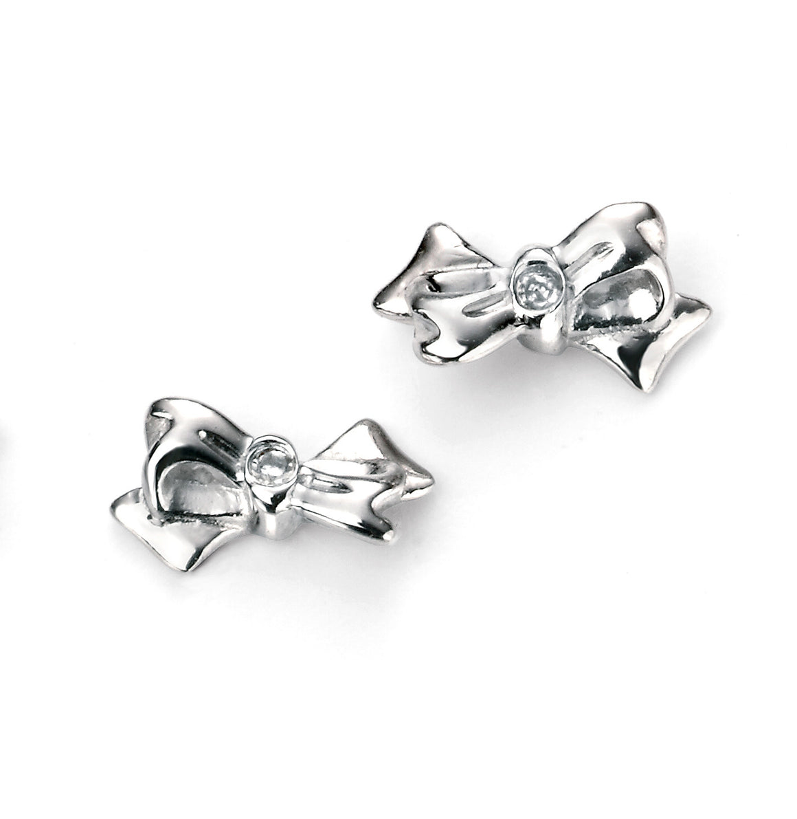 D for Diamond Silver Bow Stud Earrings