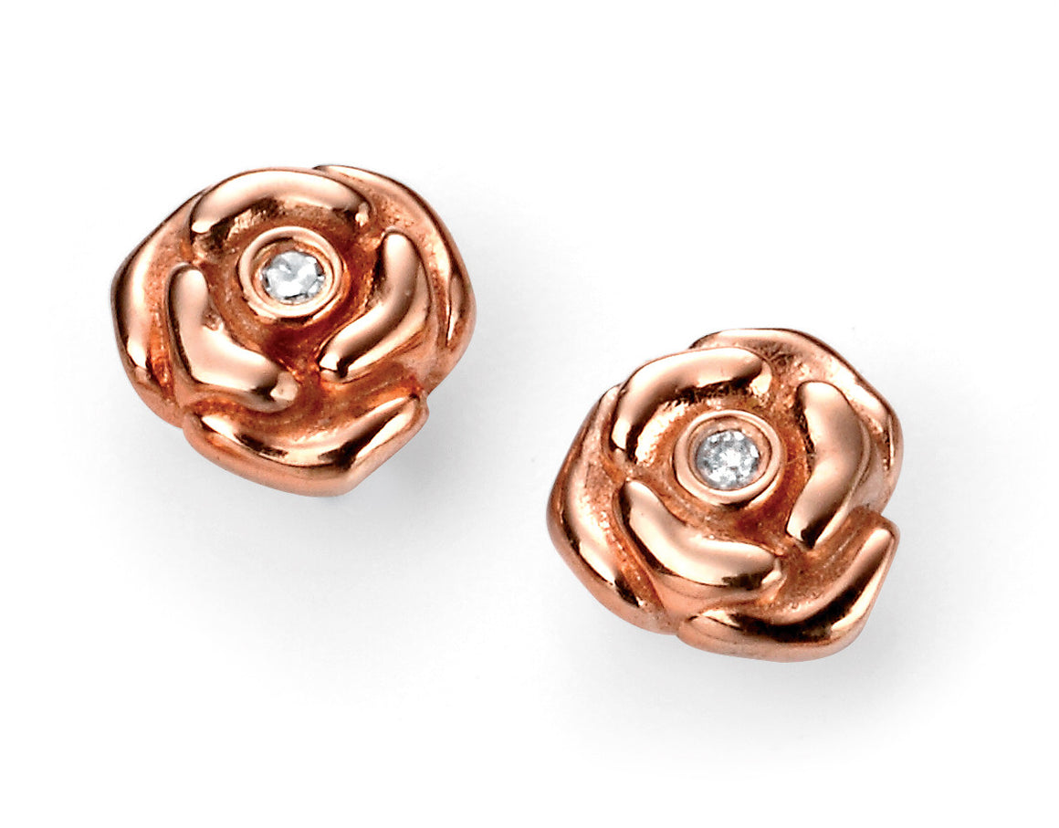 D for Diamond Rose Gold Plate Flower Earrings