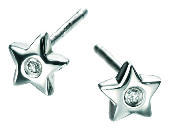 D for Diamond Sterling Silver Star Studs