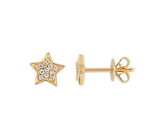 9ct Yellow Gold Diamond Star Stud