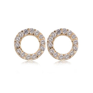 Rose Gold Plate Crystal Open Circle Earrings