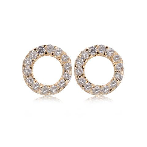 Gold Plate Crystal Open Circle Earrings