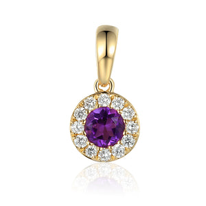 February Birthstone Amethyst and Diamond Cluster Pendant 9ct Gold