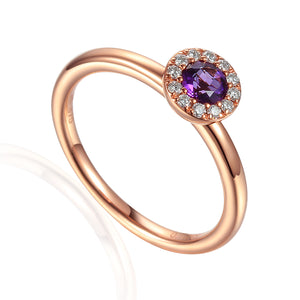 February Birthstone Amethyst Cluster 9ct Gold Ring