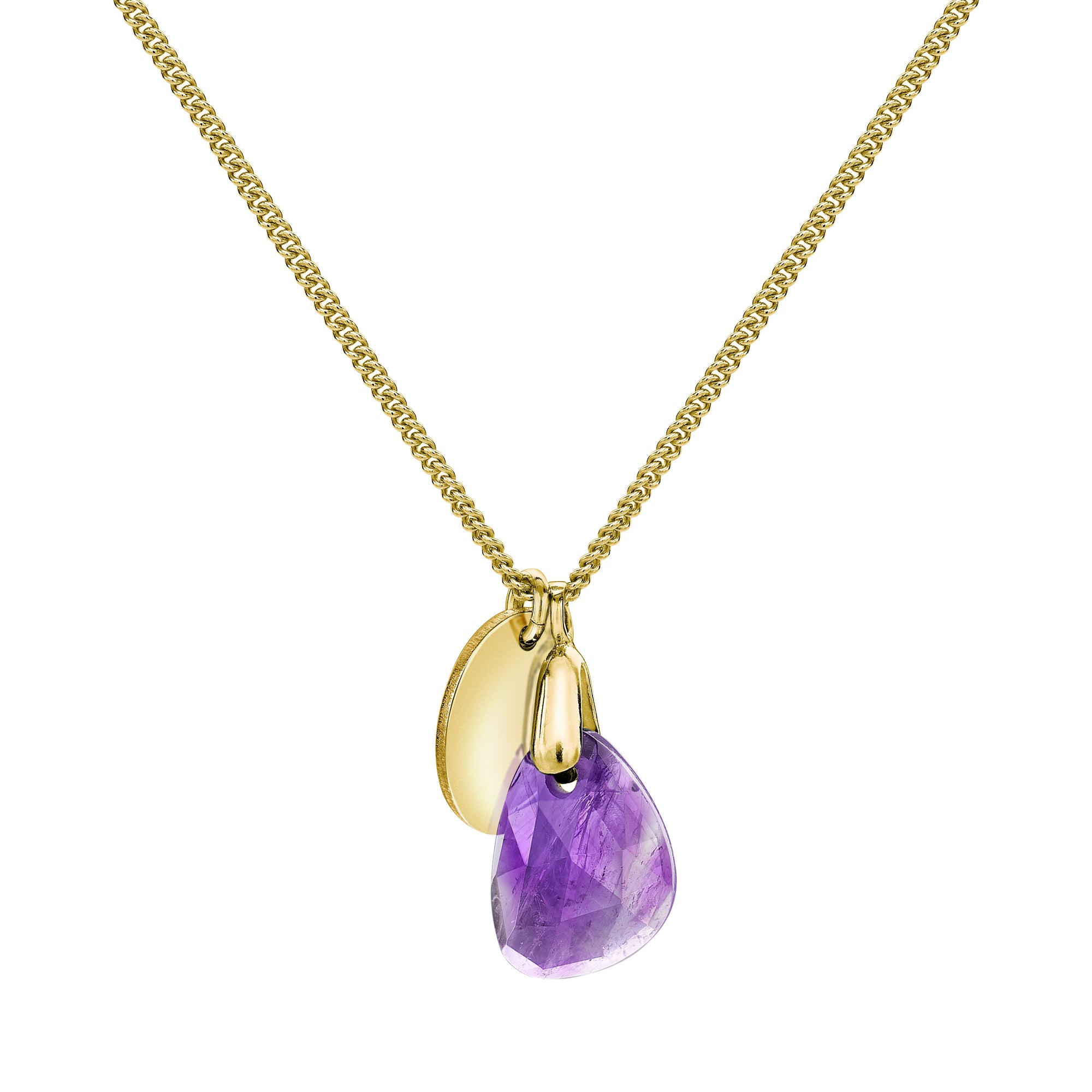 Aura Amethyst Rose Cut Gold Plate Necklace