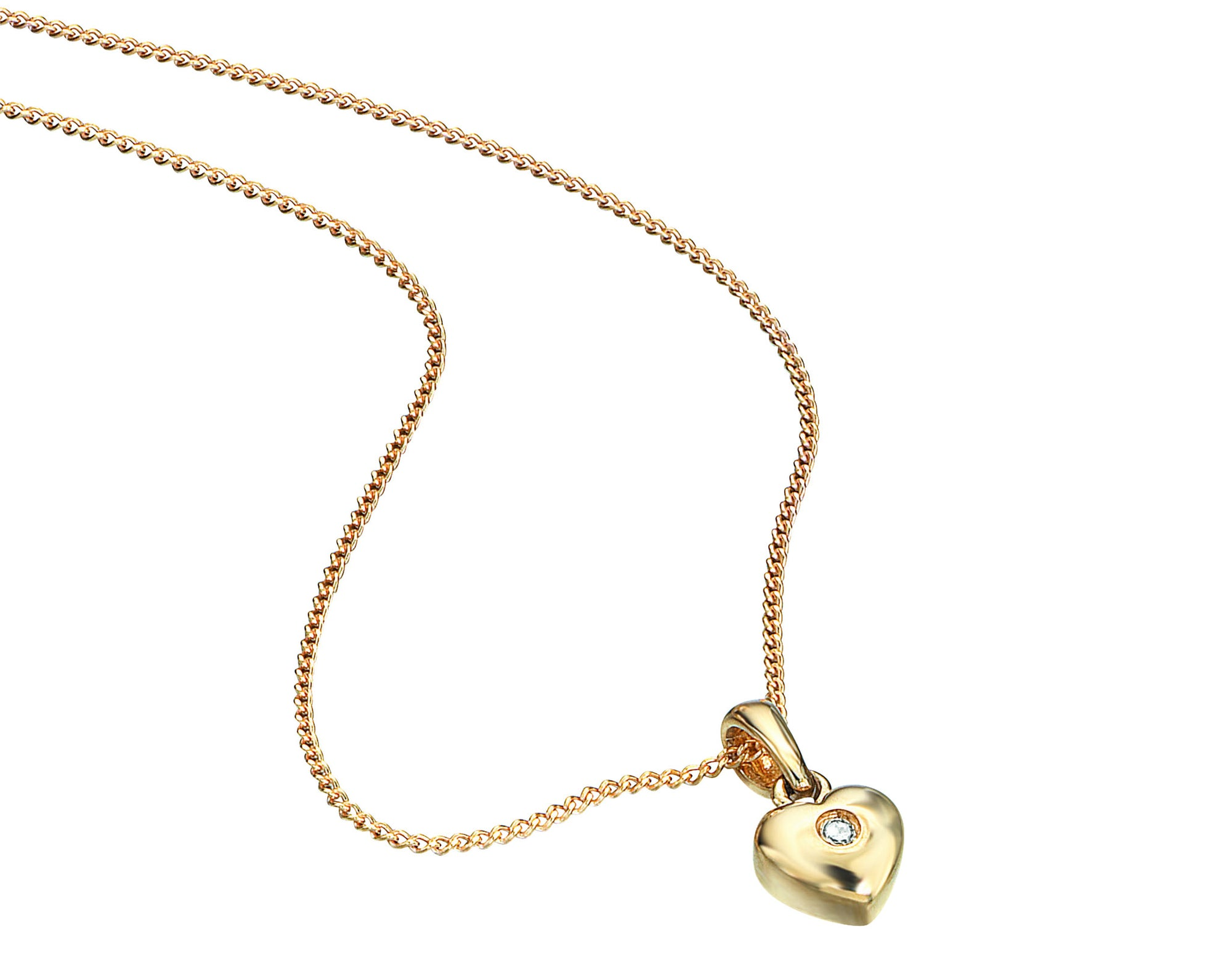 9ct Yellow Gold Heart Pendant with Diamond