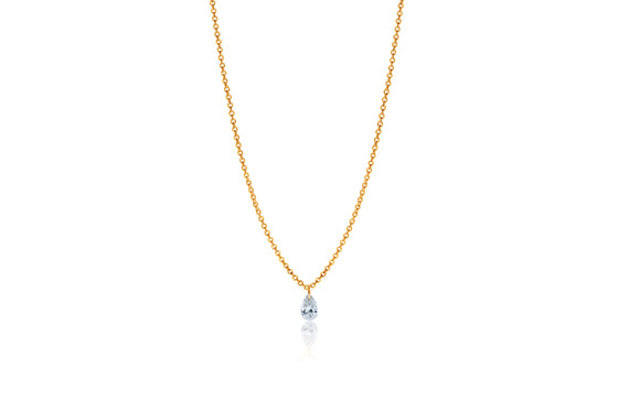 Pear Shape Lustre 18ct Yellow Gold Drilled 0.18ct Diamond Pendant