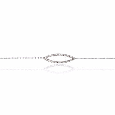 White Gold Diamond Set Marquise Geometric Bracelet