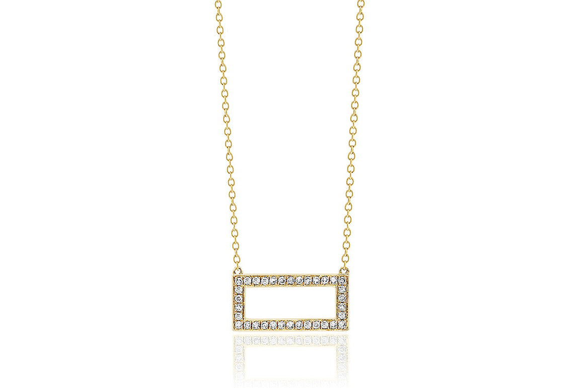 18ct Yellow Gold Open Pave Diamond Rectangle Necklace
