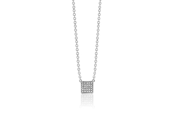 18ct White Gold Diamond Pave Square Necklace