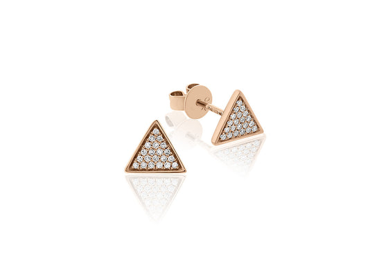 18ct Rose Gold Pave Triangle Diamond Stud Earrings