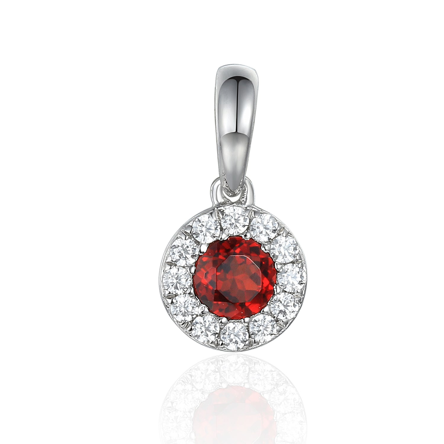 January Birthstone Garnet and Diamond Cluster Pendant 9ct Gold